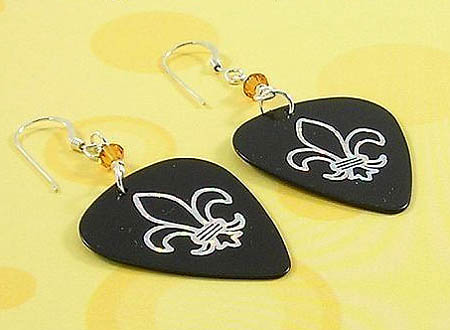 Fleur de lis Guitar Pick Earrings