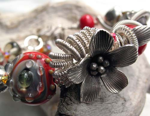 Lampwork and Silver Flower Bracelet