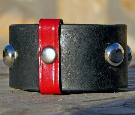 Leather Cuff with Red Stripe