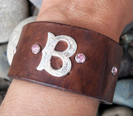 Personalized Intial Leather Cuff