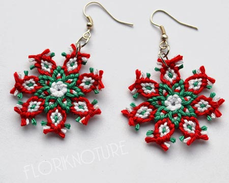 Red And Green Macrame Flower Earrings