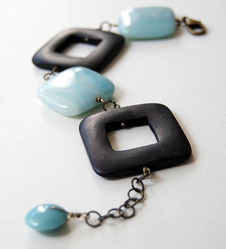 Aqua Amazonite and Wooden Bead Bracelet