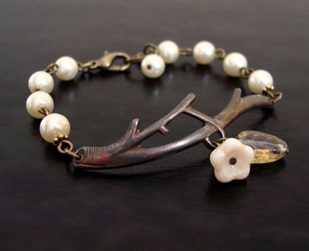 Brass Twig and Pearls Bracelet