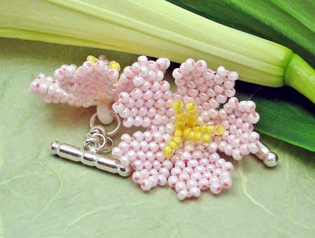 Pink Beadwoven Flower Cufflinks
