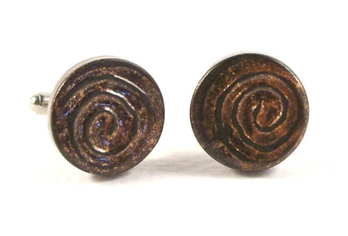 Bronze and Black Swirl Cuff-Links