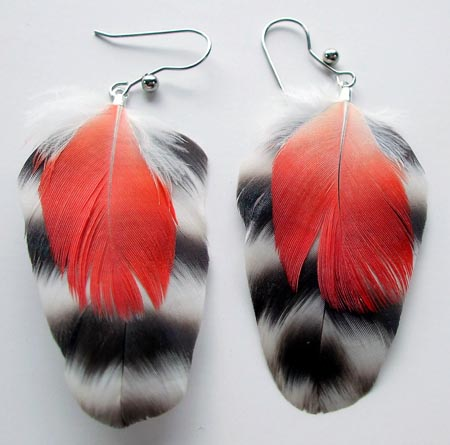 Red Feather Chippewa Earrings