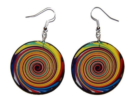 Decoupaged Swirl Earrings