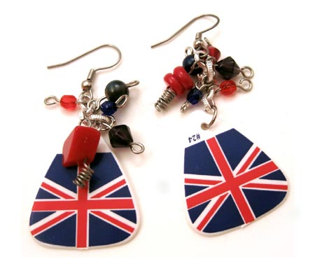 Union Jack Guitar Pick Earrings