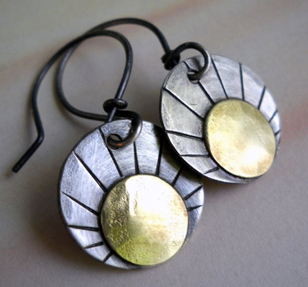 Sterling Silver & Brass Sun Earrings