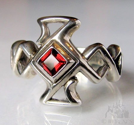 Celtic Cross Garnet Ring