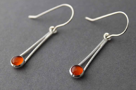Amber Cabochon Chopstick Earrings