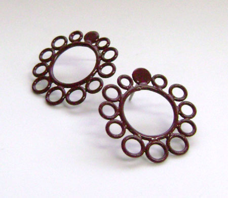 Powder-Coated Copper Wire Circle Earrings