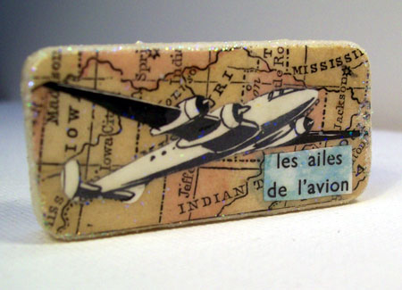 Aviation Decoupage Domino Pin