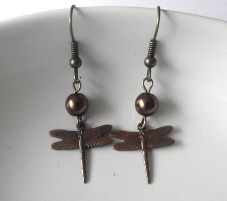 Bronze Dragonfly Dangle Earrings With Brown Pearl Beads