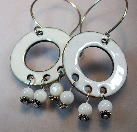 White Enameled Earrings