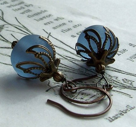 Frosted Blue Glass Filigree Wrapped Earrings