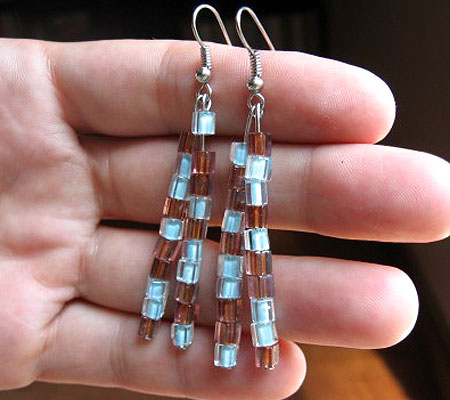 Blue And Brown Bead Dangle Earrings