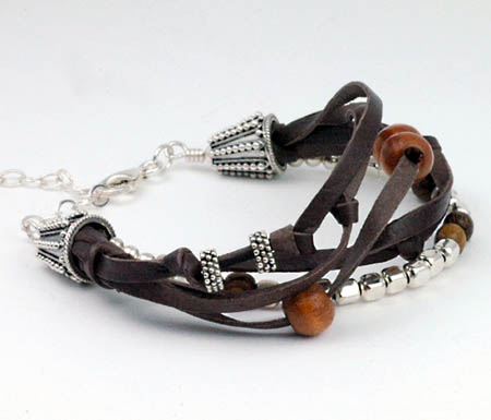 Leather, Wood and Silver Bracelet