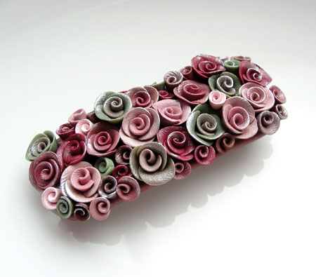 Olive Tone and Pink Roses Barrette