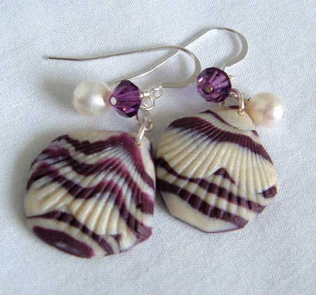 Polymer Clay Sea Shell Earrings
