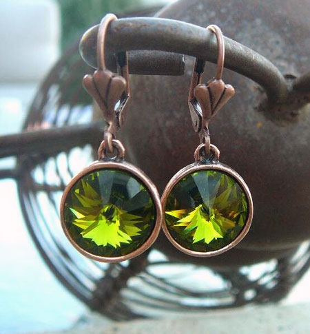 Olivine Swarovski Earrings