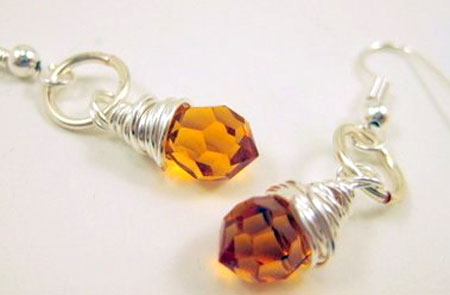 Wire Wrapped Goldenrod Swarovski Earrings