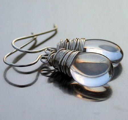 Clear Briolette Teardrop Earrings