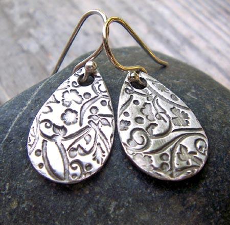Floral Teardrop Silver Earrings