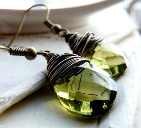 Olivine Teardrop Glass Earrings