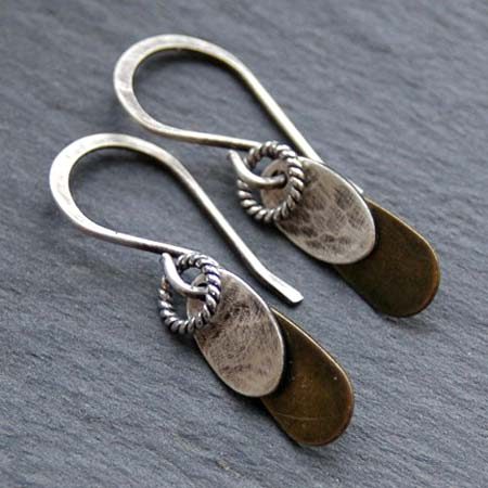 Mixed Metal Teardrop Earrings