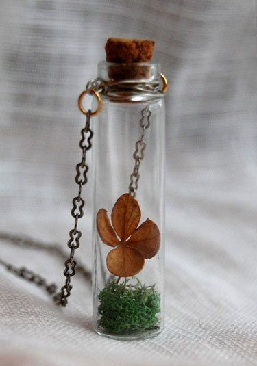 Four Leaf Clover Terrarium Necklace