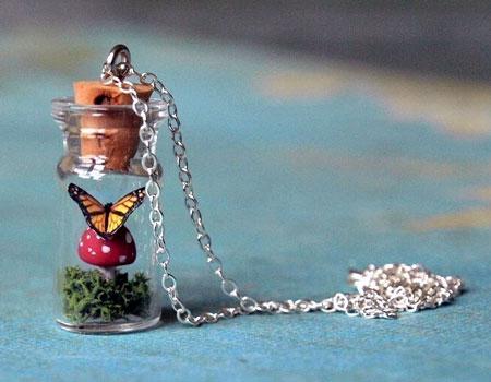 Butterfly on a Mushroom Terrarium Pendant