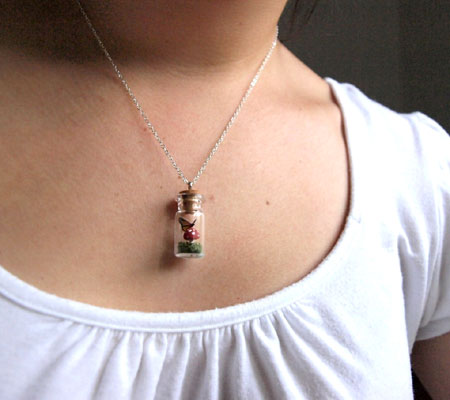 Butterfly on a Mushroom Terrarium Necklace