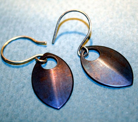Anodized Titanium Shield Earrings