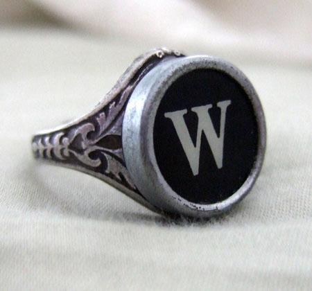Vintage Typwriter Initial Ring
