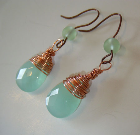 Wire-Wrapped Amazonite Earrings