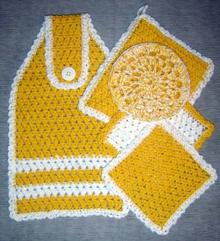 Yellow Crochet Kitchen Set