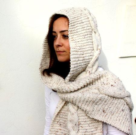 Hand-Knit Hooded Scarf