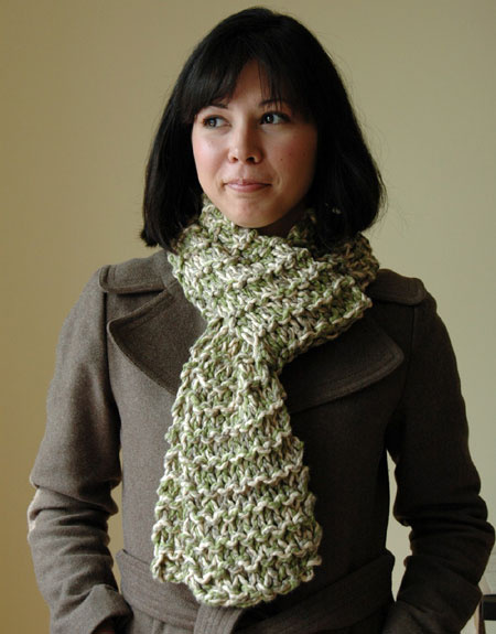 Hand Knit Organic Cotton Scarf
