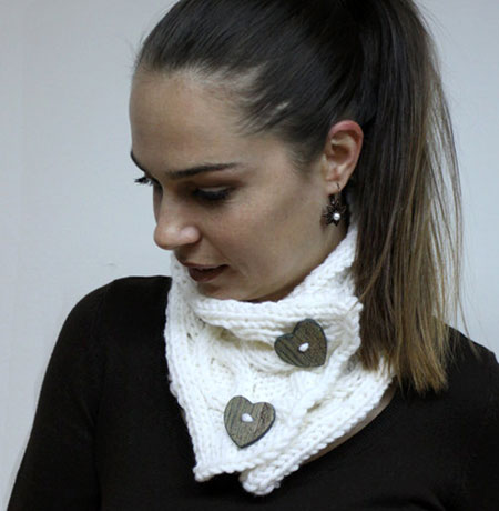 White Cable-Knit Cowl With Heart Shaped Buttons