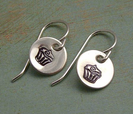 Cupcake Stamped Earrings