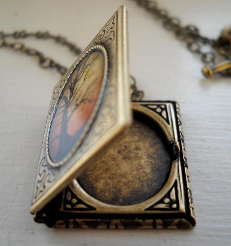 Tree Book Locket Necklace