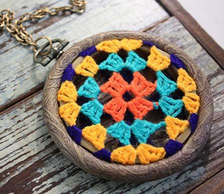 Crochet Granny Square Dreamcatcher Pendant