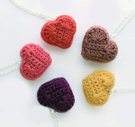 Amigurumi Heart Pendants