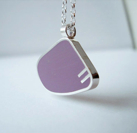 Modern Purple Pendant | Resin Block In Sterling Silver