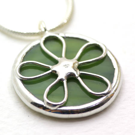 Green Stained Glass Pendant