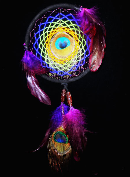 Beaded Dreamcatcher With Peacock Feathers