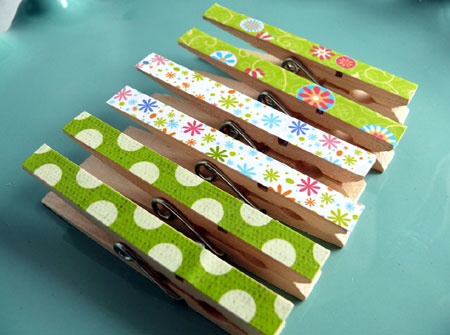 Decoupaged Clothespin Clips