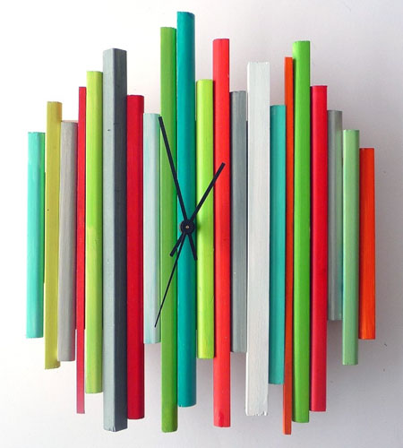 Modern Sticks Sculpture Clock
