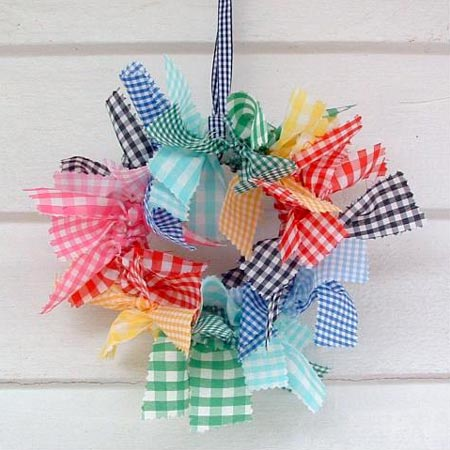 Rainbow Colored Gingham Rag Wreath